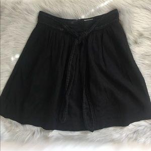 Anthropologie Cidra Skirt Linen Black Size 4 Bow